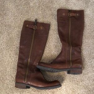 Franco Sarto brown leather riding boots